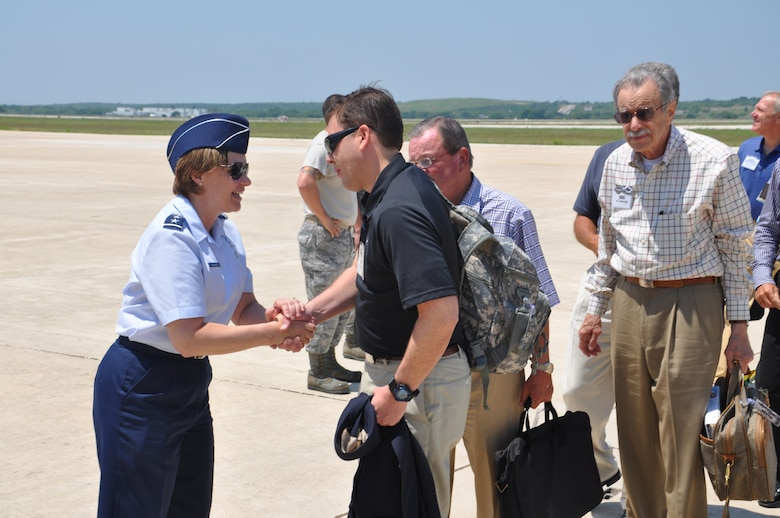 JOINT BASE SAN ANTONIO-LACKLAND, Texas -- General William Shelton, Air Force Space Command commander, accompanies a group of civic leaders during a visit to 24th Air Force.  Maj. Gen. Suzanne Vautrinot, 24th Air Force commander, and members of her subordinate units welcome the visitors here May 21-22. (U.S. Air Force photo by Tech. Sgt. Scott McNabb)