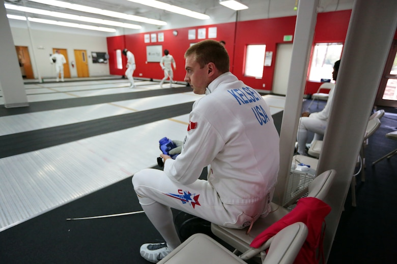 COLORADO SPRINGS, Colo. – Weston Kelsey, an Air Force captain with the 310th Force Support Squadron, takes a break between bouts at the U.S. Olympic Training Center June 8, 2012. Kelsey, a U.S. Olympian of the Athens 2004, Beijing 2008, and now London 2012 Summer Olympic Games, takes his place as the anchor for the U.S. Men's Epee Team. (U.S. Air Force photo by Staff Sgt. Kathrine McDowell)