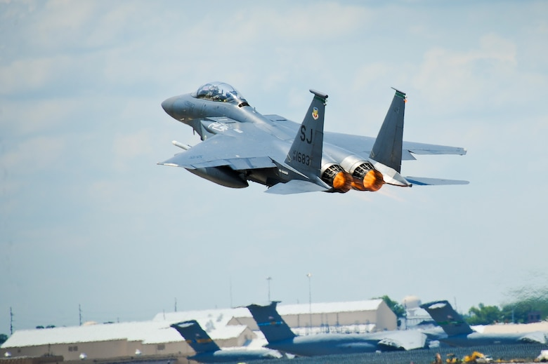 An F-15E Strike Eagle from Seymour Johnson Air Force Base, N.C., takes off for a final mission in support of the Iron Dagger 2012 exercise at Robins Air Force Base, Ga.  The Strike Eagles were invited to participate in the week-long exercise by Team Joint STARS during a runway closure at Seymour Johnson. (U.S. Air Force photo by Master Sgt. Roger Parsons)