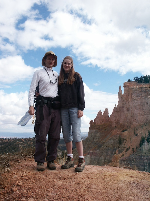 Jon Warnick and Jette Carr pose for a photo in Bryce Canyon during their walk across the state, summer of 2003.  The hike was part of a trek spanning from the bottom to the top of Utah to each boarder – a journey that took 43 days and was nearly 700 miles long.  (Courtesy photo)