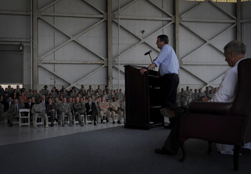 """U.S. Deputy Secretary of Defense Ashton Carter and U.S. Senator Lindsey Graham, from South Carolina, speak with military members during an """"All Call"""" at Joint Base Charleston – Air Base, S.C. June 18, 2012, held to thank the troops for their service. Carter and Lindsey Graham also visited The Space and Naval Warfare Systems Command and Army Strategic Logistics Activity – Charleston at JB Charleston – Weapons Station. (U.S. Air Force photo/Airman 1st Class Ashlee Galloway)"""