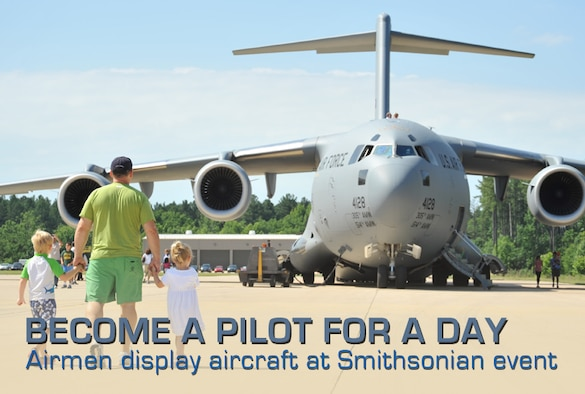 A C-17 Globemaster III of the 305th Air Mobility Wing is presented as a static display for Become a Pilot Day, in Chantilly, Va., June 16, 2012. Become a Pilot Day is an annual event held at the National Air and Space Museum's Udvar-Hazy Center. (U.S. Air Force photo/Airman 1st Class Alexander W. Riedel)