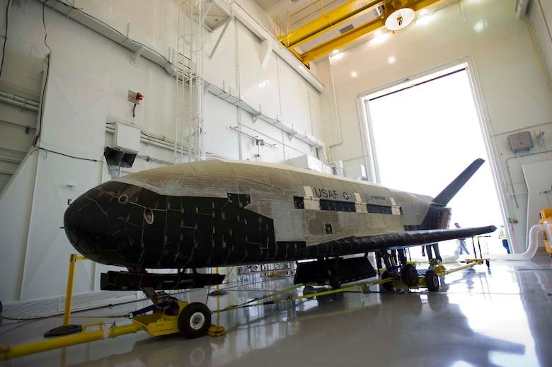 The X-37B Orbital Test Vehicle (OTV), the Air Force's unmanned, reusable space plane, landed at Vandenberg Air Force Base at 5:48 a.m. (PDT) June 16. OTV-2, which launched from Cape Canaveral Air Force Station, Fla., March 5, 2011, conducted on-orbit experiments for 469 days during its mission. The X-37B is the newest and most advanced re-entry spacecraft. Managed by the Air Force Rapid Capabilities Office, the X-37B program performs risk reduction, experimentation and concept of operations development for reusable space vehicle technologies. (photo credit: Boeing)