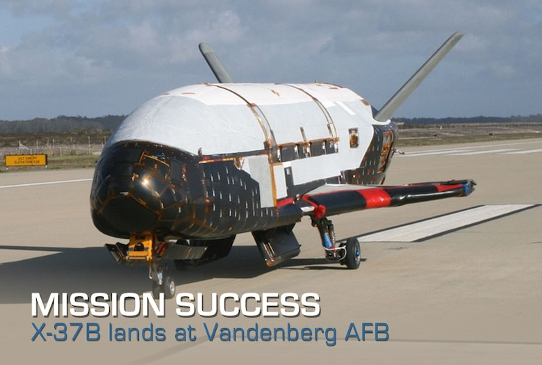 The Air Force's unmanned, reusable space plane landed in the early morning of June 16 at Vandenberg Air Force Base, Calif., a successful conclusion to a record-setting test-flight mission that began March 5 from Cape Canaveral Air Force Station, Fla. (U.S. Air Force file photo)