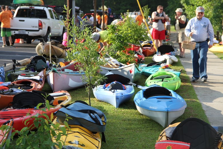 Kayaks and canoes line the parking lot near the Dismal Swamp Canal in North Carolina May 5, 2012.