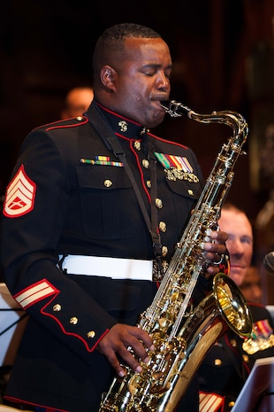 WELLINGTON, New Zealand – Staff Sgt. Jordan Dixon, musician with the U.S. Marine Corps Forces, Pacific Band plays during a concert at Old St. Paul's, Wellington here June 13. The MarForPac Band and color guard are participating in events throughout New Zealand to commemorate the 70th anniversary of U.S. Marines arriving in Wellington during World War II. (U.S. Marine Corps photo by Cpl. Isis Ramirez/released)
