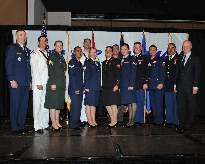 AURORA, Colo. -- Local military members receive awards for exceptional service at the Armed Forces Recognition Luncheon June 15, 2012. Each year the Aurora Chamber of Commerce schedules a luncheon to honor distinguished military members in the Denver Area. (U.S. Air Force photo by Airman 1st Class Phillip Houk)