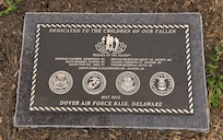 """A plaque which reads: """"Dedicated to the Children of the Families of the Fallen,"""" is displayed at the playground dedicated at the Fisher House for Families of the Fallen, Dover Air Force Base, Del., June 18, 2012. (U.S. Air Force photo/Roland Balik)"""
