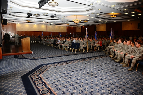 SPANGDAHLEM AIR BASE, Germany – Brig. Gen. Chris Weggeman, 52nd Fighter Wing commander, speaks during the in-brief for the Air Force Services Agency Innkeeper Award review team at the Club Eifel ballroom here June 18. The Eifel Arms Inn is competing for the 2012 Air Force Best Small Lodging Operation against three other lodging facilities. (U.S. Air Force photo by Airman 1st Class Matthew B. Fredericks/Released)