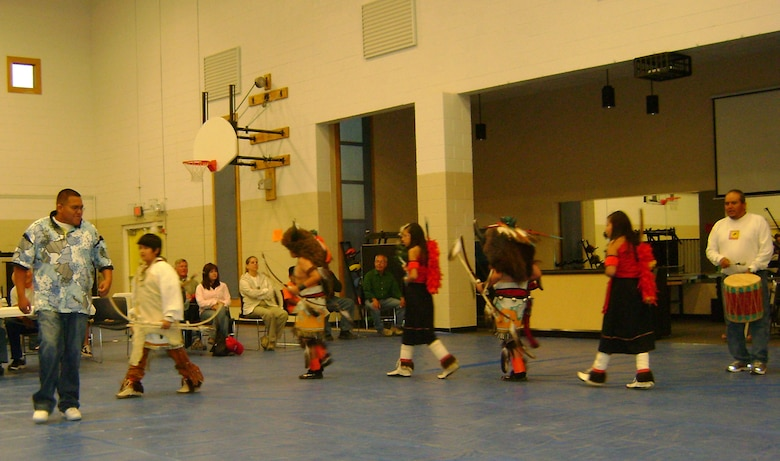 Cochiti Pueblo children demonstrate a ceremonial dance during the 2011 Native American Perspective Course, April 27.
