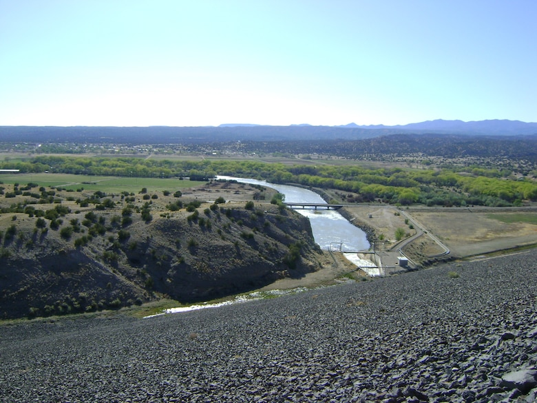 A view of Cochiti land from atop the five-mile-long Cochiti Dam.