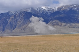 WALKER LAKE, Nev. — Smoke visible during demilitarization in place of munitions exposed by receeding waters of Walker Lake.