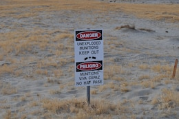 WALKER LAKE, Nev. — Sign posted at Walker Lake. Site of remediation of more than 600 pieces of unexploded ordnance exposed by receeding waters of the lake.