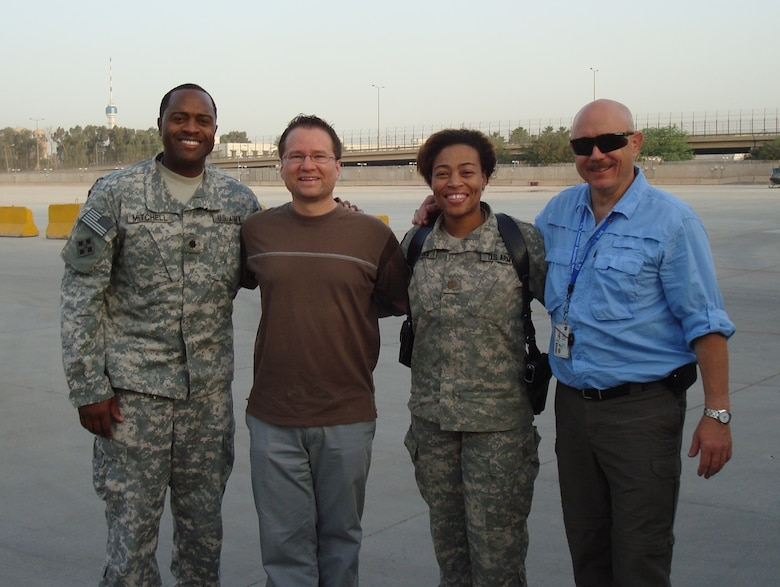 From left, Lt. Col. Anthony Mitchell, officer in charge, Iraq Area Office; Joseph Zaraszczak, Middle East District branch chief; Maj. Andrea Peters, deputy officer in charge; and Bryton Johnson, Transatlantic Division FMS program manager.