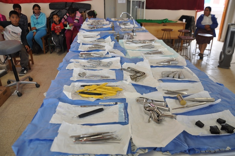 SAN CLEMENTE, Peru—Dental tools and patients wait for their turn June 21 during the first medical readiness and training exercise offered in the area as part of New Horizons, a U.S. Southern Command-sponsored humanitarian assistance and training exercise that takes place annually in Latin American and Caribbean countries. New Horizons Peru affords Air Force medical personnel the opportunity to hone their skills and train alongside their Peruvian military counterparts. As part of New Horizons Peru, U.S. and Peruvian medics are planning to provide free medical care to about 30,000 Peruvians for communities in need. (U.S. Air Force photo by Capt. Candace N. Park/released)