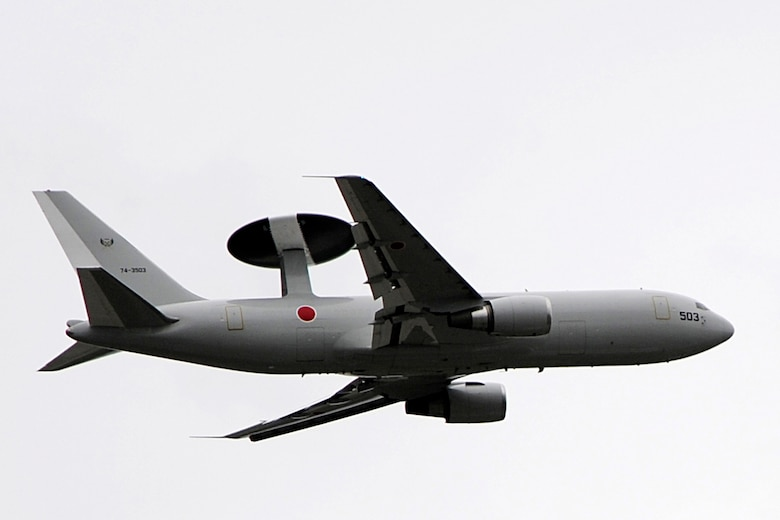 A Japanese airborne early warning and control system E-767 flies over Joint Base Elmendorf-Richardson June 13 during Red Flag - Alaska. The E-767 can fly at about 832 kilometers an hour and has a range of 9,000 kilometers with a crew of 20 members. Red-Flag Alaska is designed to strengthen bilateral ties between nations and offers the JASDF the opportunity to improve aerial tactics. (U.S. Air Force photo/Staff Sgt. Zachary Wolf)