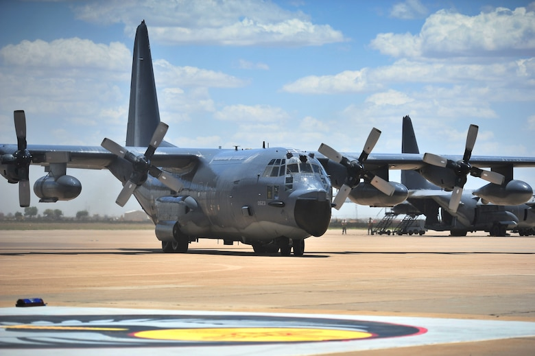 An MC-130E Combat Talon I taxies onto the flightline during an aircraft retirement ceremony at Cannon Air Force Base, N.M., June 22, 2012. This particular Talon I was the lead aircraft that performed a Prisoner of War extraction in North Vietnam called the Son Tay Raid in 1970. (U.S. Air Force photo by Airman 1st Class Alexxis Pons Abascal)