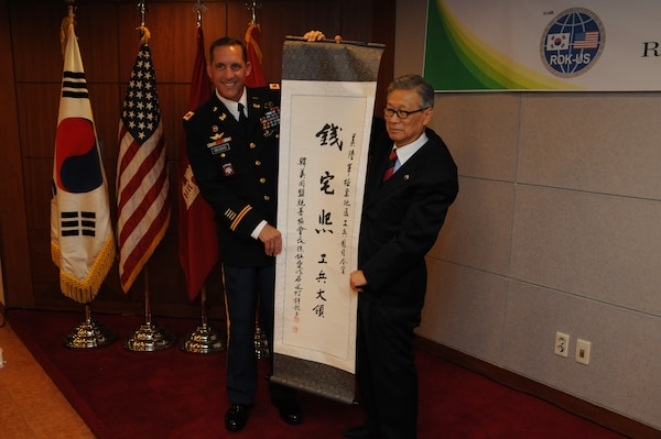 "Col. Donald E. Degidio, Jr., Commander of the U.S. Army Corps of Engineers, Far East District, was conferred with a Korean name May 10 during a ceremony at the Korea Ministry of National Defense. Suh Jin-Sup, Chairman of the ROK-U.S. Alliance Friendship Association, conferred Degidio with the name Jeon Taek-hee. The family name Jeon rhymes with Degidio's shortened first name, Don. Taek-Hee translates as ""Shining House."""