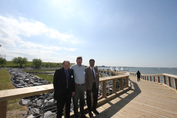 From left to right: Russ Pearson, ODU director of Real Estate and Space Management and Norfolk District's Tom Friberg, contracting officer representative and Robert Pretlow, project manager, reflect on the successful completion of the ODU Drainage and Canal Wetland Restoration Project during a ribbon-cutting ceremony held April 20 on the campus of Old Dominion University. (U.S. Army photo/Jerry Rogers)