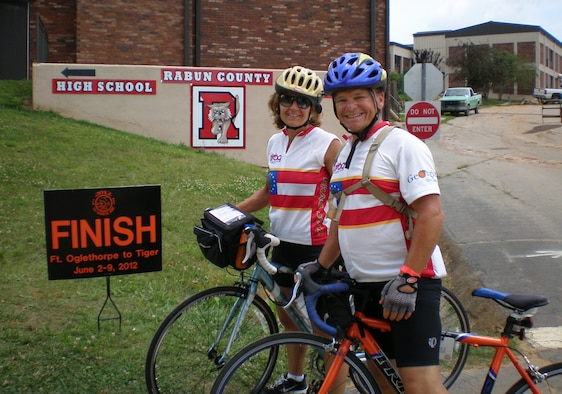 Liz Volz and Ron Helms have been friends for three years and participated in the Bicycle Ride Across Georgia, June 2-9, 2012. They lifted weights and focused on strength training for three months to prepare for BRAG, a 359-mile trek from Oglethorp to Tiger in the foothills of Georgia's Appalachian Mountains. (Courtesy photo)