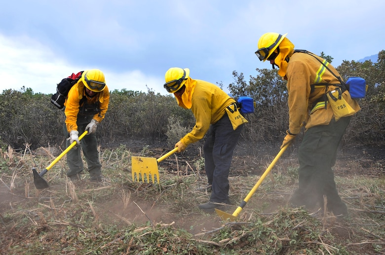 Tech Sgt. Jason Linta, Bobby Garza, and Dean Prestia cut lines to create a firebreak to prevent fires from jumping at the U.S. Air Force Academy, Colo., June 28. Sergeant Linta is a firefighter assigned to the Air Force Academy and Garza and Prestia are firefighters assigned to Buckley Air Force Base, Colo. The Waldo Canyon fire has destroyed more than 18,000 acres in the Colorado Springs area. (U.S. Air Force photo by Staff Sgt. Christopher Boitz)