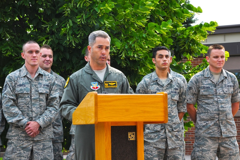 179th Fighter Squadron Commander Lt. Col. Chris Blomquist announces an upcoming deployment to Afghanistan during a press conference at the 148th Fighter Wing June 28, 2012.  The 148th Fighter Wing is scheduled to deploy approximately 300 Bulldogs to Kandahar Air Field, Afghanistan for about two months in support of Operation Enduring Freedom. (National Guard photo by Master Sgt. Ralph J. Kapustka.)