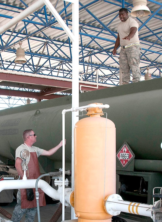 Army Reserve Pvt. Jamarcus McGee, top, checks a fuel tanker seal while Staff Sgt. Buzz Decker verifies seal numbers below before unloading fuel at the Arizona Air National Guard's 162nd Fighter Wing at Tucson International Airport, June 21. Soldiers delivered JP8 to 73 F-16 Fighting Falcons here for two weeks as part of their annual Quartermaster Liquid Logistics Exercise. (U.S. Air Force photo/Master Sgt. Dave Neve)