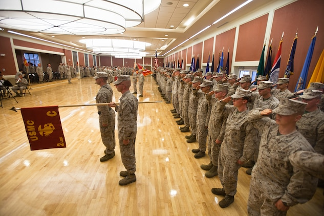 Marines in 2nd Law Enforcement Battalion stand in formation during the battalion's activation ceremony at Marine Corps Base Camp Lejeune, N.C., June 26. The battalion will be a force multiplier to the operating forces by assisting in a variety of missions that include law enforcement, route regulation, humanitarian assistance, nonlethal weapons training and military working dog employment.