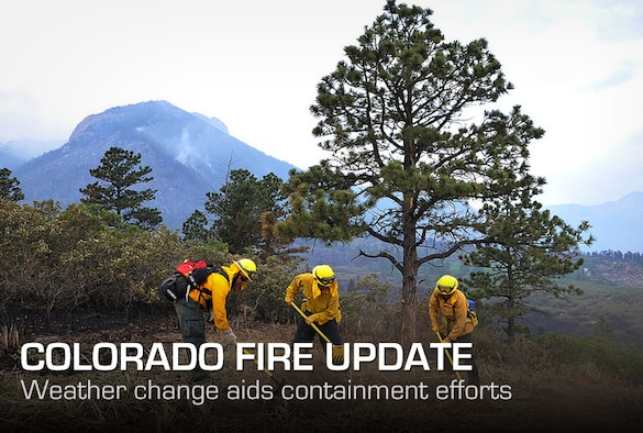 Tech Sgt. Jason Linta, Bobby Garza and Dean Prestia cut lines to create a firebreak to prevent fires from jumping at the U.S. Air Force Academy, Colo., on June 28, 2012. Sergeant Linta is a firefighter assigned to the Academy and Garza and Prestia are firefighters assigned to Buckley Air Force Base, Colo. The Waldo Canyon fire has destroyed more than 18,000 acres in the Colorado Springs area. (U.S. Air Force photo/Staff Sgt. Christopher Boitz)