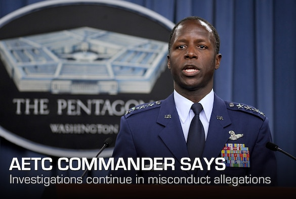 Gen. Edward Rice Jr., Commander, Air Education and Training Command, gives a press briefing on allegations of sexual misconduct involving basic military training instructors at Lackland Air Force Base in the Pentagon on June 28, 2012.  An investigation since June 2011 into the allegations is still ongoing.  (U.S. Air Force photo/Scott M. Ash)