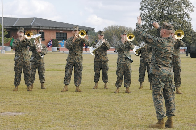 The Albany Marine Band plays one of its last performances during Marine Depot Maintenance Command's activation ceremony at Schmid Field, Feb. 23.
