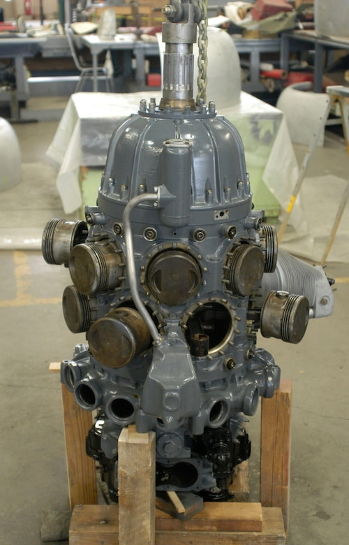 DAYTON, Ohio - The O-46A's R-1535-7 engine in the Restoration Hangar at the National Museum of the U.S. Air Force. (U.S. Air Force Photo)
