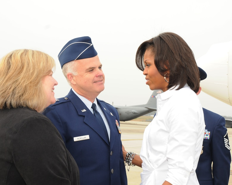 First Lady Michelle Obama is welcomed by Brig. Gen. Tony E. McMillan, Wing Commander,  and wife Vickie upon arrival at the 145th Airlift Wing,  North Carolina Air National Guard Base,  Charlotte,  N.C.,  March 2, 2012.. (Photo by Tech. Sgt. Patricia Findley, 145th AW Public Affairs)