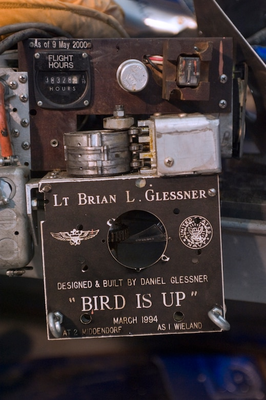 Flight hour recorder displays 38,328 actual flight hours logged by the then Lt. Brian L. Glessner.  (Photo/Bobby Jones)