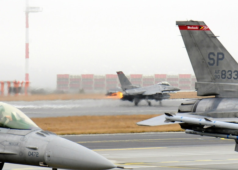 SPANGDAHLEM AIR BASE, Germany – A 480th Fighter Squadron F-16 Fighting Falcon aircraft takes flight here March 2 heading for Anatolian Falcon 2012 at Turkish air force's Konya Air Base, Turkey. AF12 is a weapons-training deployment geared to expanding and honing military interoperability between the U.S. and Turkish air forces. More than 250 Airmen and 15 aircraft will participate in the exercise, which involves air missions to include interdiction, attack, air superiority, defense suppression, airlift, air refueling and reconnaissance. (U.S. Air Force photo by Staff Sgt. Daryl Knee/Released)
