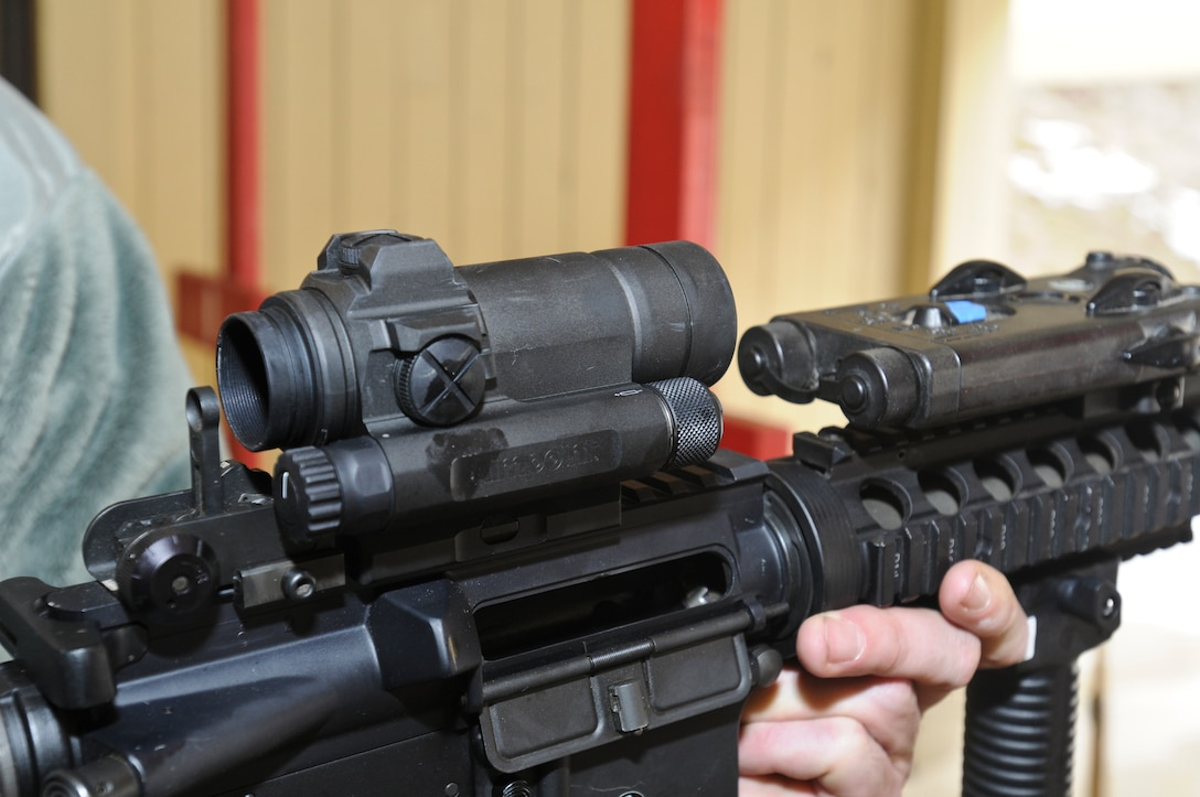 The M-68 close combat optic mounted on a M-4 rifle at Fairchild Air Force Base, Wash. on March 3, 2012. (U.S. Air Force photo by Master Sgt. Mindy Gagne)