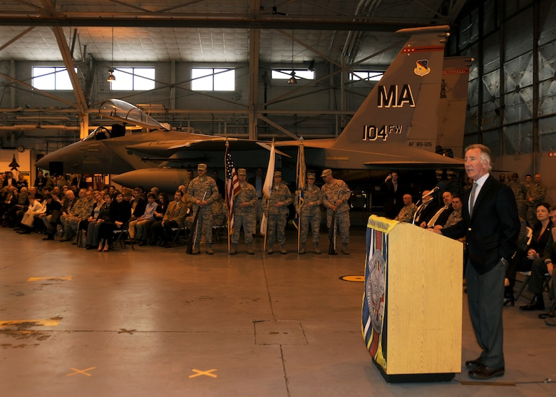 On March 3rd, 2012 Congressman Richard Neal speaks to the members of the 104th Fighter Wing during a Commander's Call that was held in the main hanger at the 104th Fighter Wing Barnes Air National Guard Base, Westfield, MA. This commander's call was held to give several members of the wing award. This event was also to recognize members of the wing who will deploy next month, a change in command and members who have returned from a deployment. (Air National Guard photo by Master Sergeant Mark Fortin)