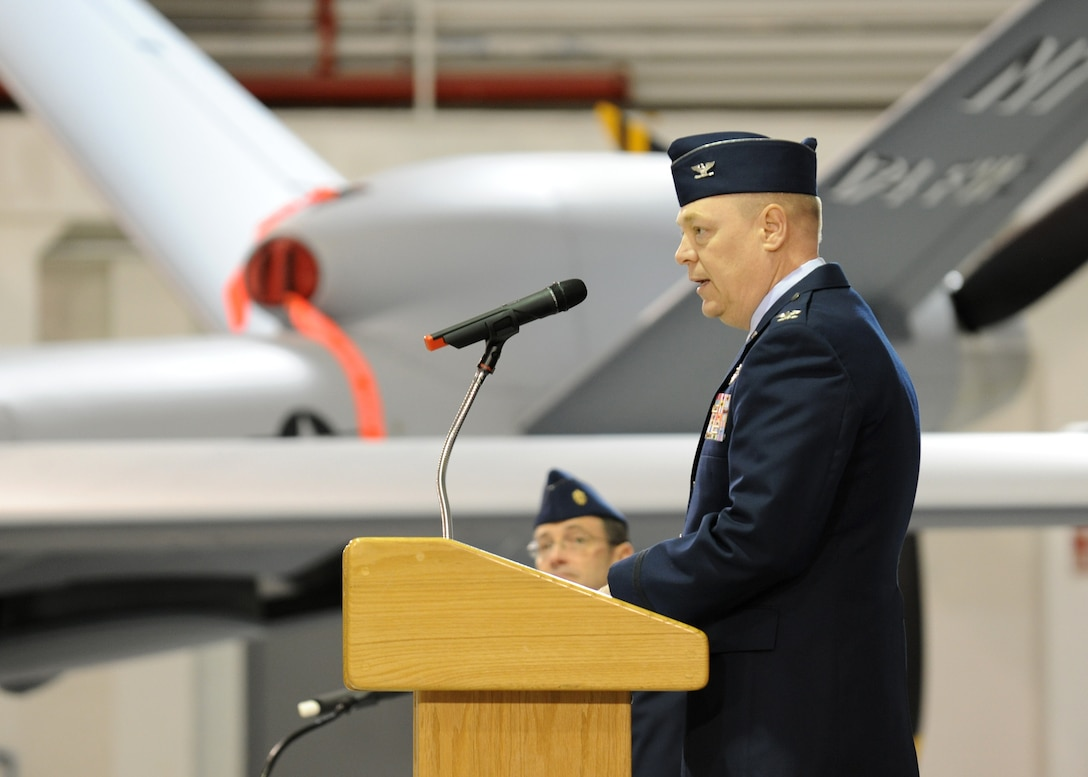 U.S. Air Force Col. Kevin W. Bradley addresses family and friends as well as military and civilian unit members of the 174th Fighter Wing at Hancock Field in Syracuse, NY on 4 March 2012.  Bradley was giving his final speech as the Commander of the 174th during the Change of Command ceremony.  Bradley expressed his appreciation of the men and woman of Hancock Field and his family who made his four years as the Commander a success.  (U.S. Air Force photo by Tech. Sgt. Jeremy M. Call/Released)