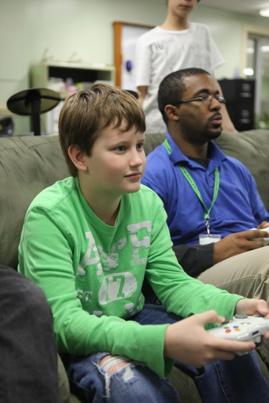 Mason Haspert, who was awarded Teen of the Month for February, plays videogames at Teen Squad aboard Marine Corps Base Camp Lejeune, March 5. Haspert hopes to become an officer in the Marine Corps when he grows up.