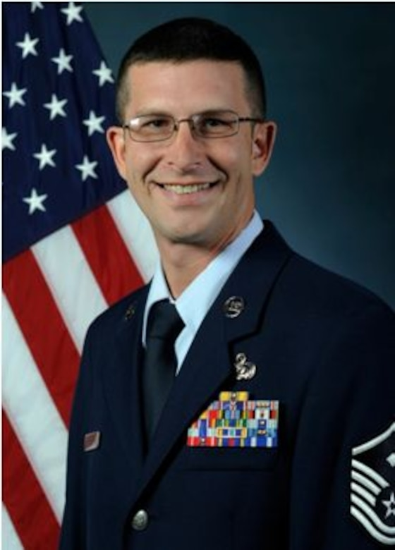 BUCKLEY AIR FORCE BASE, Colo. - Official photograph of Master Sgt. Brian Hickey, 460th Space Wing First Sergeant. (Photo courtesy of U.S. Air Force)