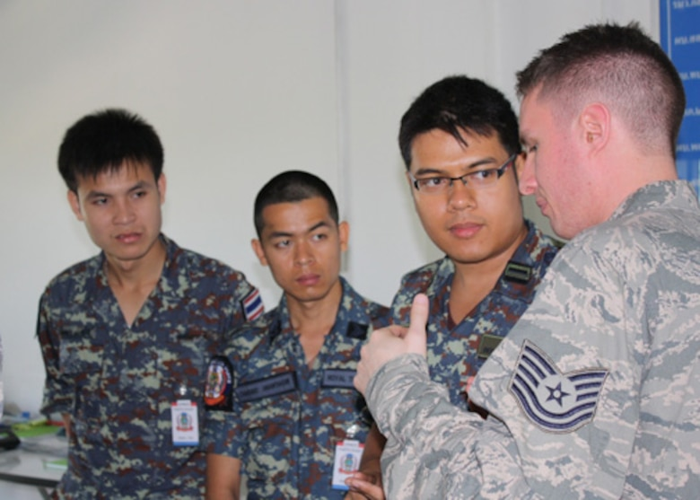 Tech. Sgt. Brian Harskey, a 157th Air Operations Group intelligence specialist, speaks with his Royal Thai Air Force counterparts during Cobra Gold 2012 at Camp Suranaree in Korat, Thailand.  Cobra Gold is an annual Thai and U.S. co-sponsored joint and multinational exercise that is designed is to improve partner nation interoperability and capacity to conduct joint and multinational planning, operations and to respond to crises with increased speed of response, mission effectiveness, and unity of effort. (Courtesy Photo, Royal Thai Air Force)