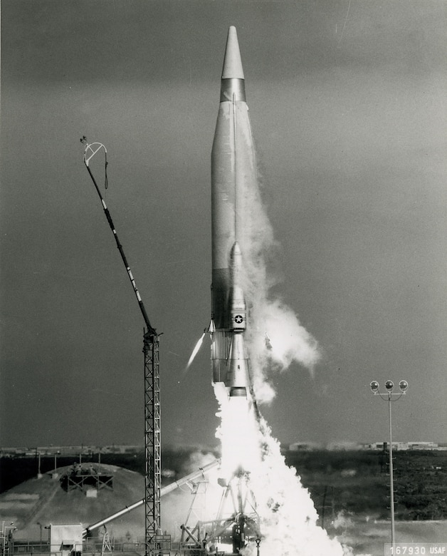 Pictured here is an Atlas ICBM.  These missiles were equipped with a stage-and-a-half propulsion system.  (Courtesy photo)