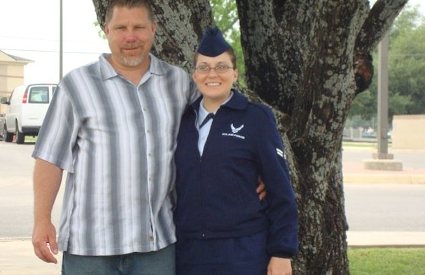 Airman 1st Class Tabitha N. Haynes, Air Force District of Washington Public Affairs, and her dad Rod Haynes, in 2010 when she graduated from Basic Military Training, Lackland Air Force Base, Texas.