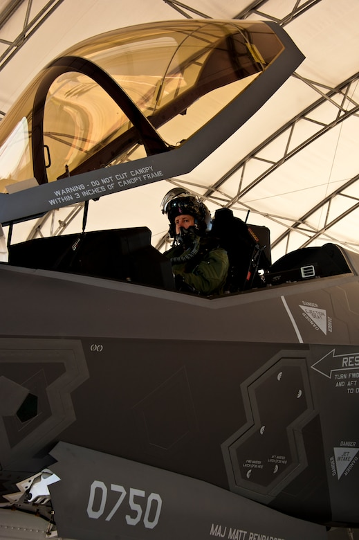 Lt. Col. Eric Smith, the 58th Fighter Squadron director of operations, begins flight checks on the F-35A Lightning II joint strike fighter prior to its first-ever training sortie March 6 at Eglin Air Force Base, Fla.  Smith is the first Air Force pilot qualified to fly the F-35.  (U.S. Air Force photo/Samuel King Jr.)