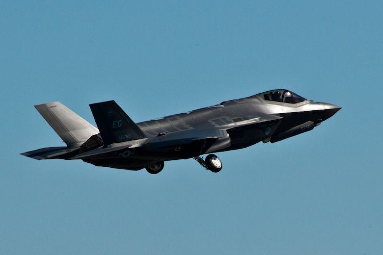 The F-35A Lightning II joint strike fighter lifts off for its first training sortie March 6 at Eglin Air Force Base, Fla. It's the first flight of any 33rd Fighter Wing F-35 since its arrival to the base. (U.S. Air Force photo/Samuel King Jr.)