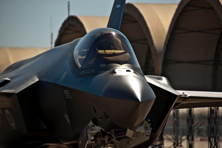 The F-35A Lightning II joint strike fighter taxis out for its first training sortie March 6 at Eglin Air Force Base, Fla. (U.S. Air Force photo/Samuel King Jr.)