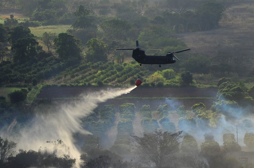 SOTO CANO AB, Honduras - A U.S. Army CH-47 Chinook assigned to 1st Battalion, 228th Aviation Regiment drops water on a brushfire 50 meters outside the perimeter of Soto Cano AB March 4 here. The brushfire, which started when an electrical line fell due to high winds, was extinguished with the combined efforts of the Joint Task Force-Bravo Fire Department, Comayagua Fire Department and the 228th AR. (U.S. Air Force photo/Staff Sgt. Bryan Franks)