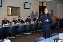 U.S. Air Force Lt. Gen. Eric E. Fiel, Air Force Special Operations Command commander, speaks with the civic leaders of Clovis at Cannon Air Force Base, N.M., March 9, 2012. He addressed changes within AFSOC such as manning, construction and re-alignment of aircraft missions. (U.S. Air Force photo by Master Sgt. Carlotta Holley)