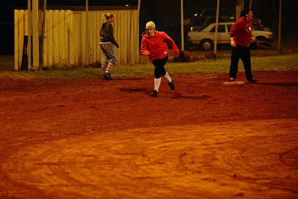 SPANGDAHLEM AIR BASE, Germany – Brett Shannon runs to home base during Spangdahlem Lady Sabers varsity softball team tryouts at varsity field 1 here March 7. The softball team held tryouts until March 9. The varsity softball team competes in tournaments throughout Europe playing against other Air Force, Army and Navy teams. (U.S. Air Force photo by Airman 1st Class Matthew B. Fredericks/Released)