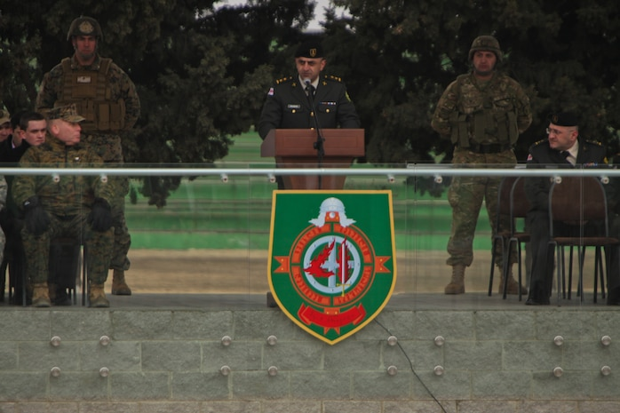 Lt. Col. Merab Kikabidze, director of the Joint Staff, Ministry of Defense, Georgian Armed Forces, addresses the Black Sea Rotational Force and soldiers from the 4th Infantry Brigade, Georgian Land Forces, during the opening ceremony of Operation Agile Spirit.